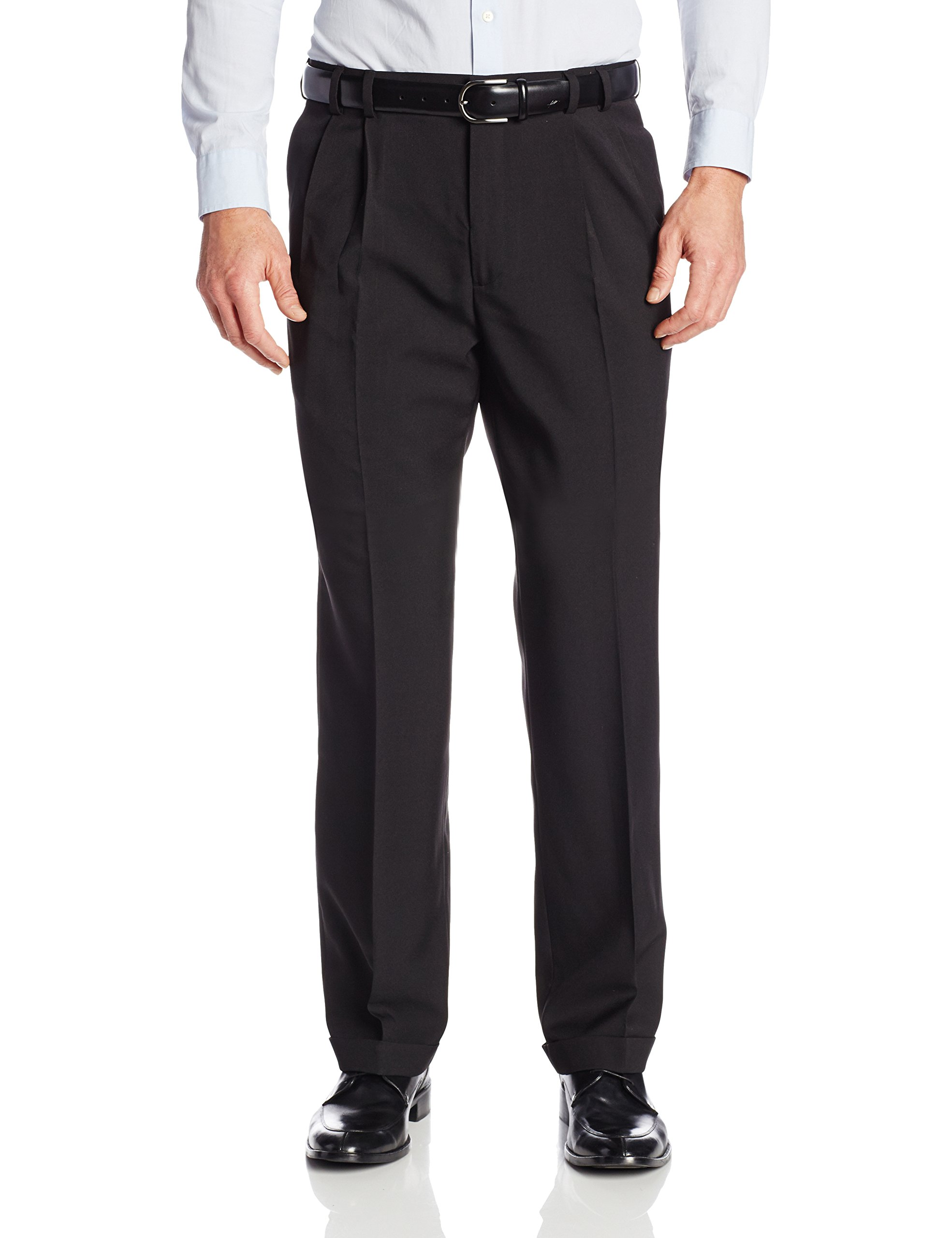 Van Heusen Men's Big & Tall Cuffed Crosshatch Pant, Black, 40W x 34L