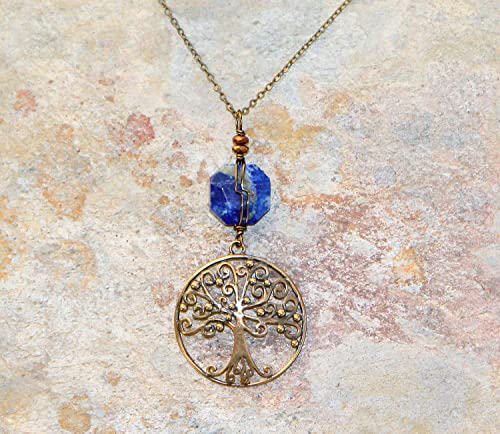 Yggdrasil Lapis lazuli blue Tree of Life gold-plated wire-wrapped pendant World Tree pendant