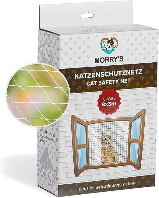 Morry s Gato Red para balcón & Ventana Transparente 8 x 3 m, Incluye Material de fijación: Amazon.es: Productos para mascotas