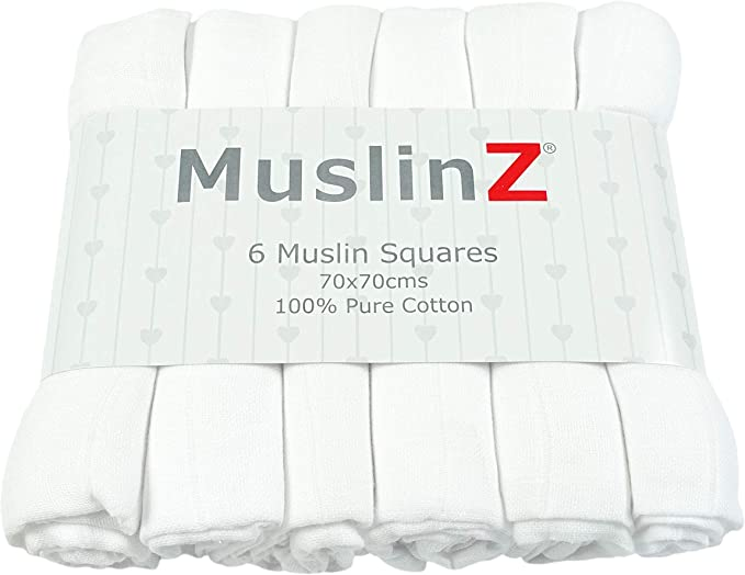 White, Pack of 12 Muslinz Premium High Quality Baby Muslin Squares