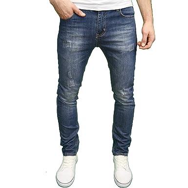 09eda55e0f2af5 Soulstar Mens Designer Distressed Ripped Slim Fit Straight Leg Jeans (30W x  34L, Dirty