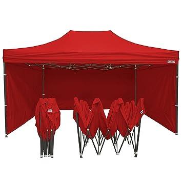 France-Barnums - Tonnelle Pliable - Barnum Tente Pliante acier 3mx4,5m  rouge avec Pack Côtés