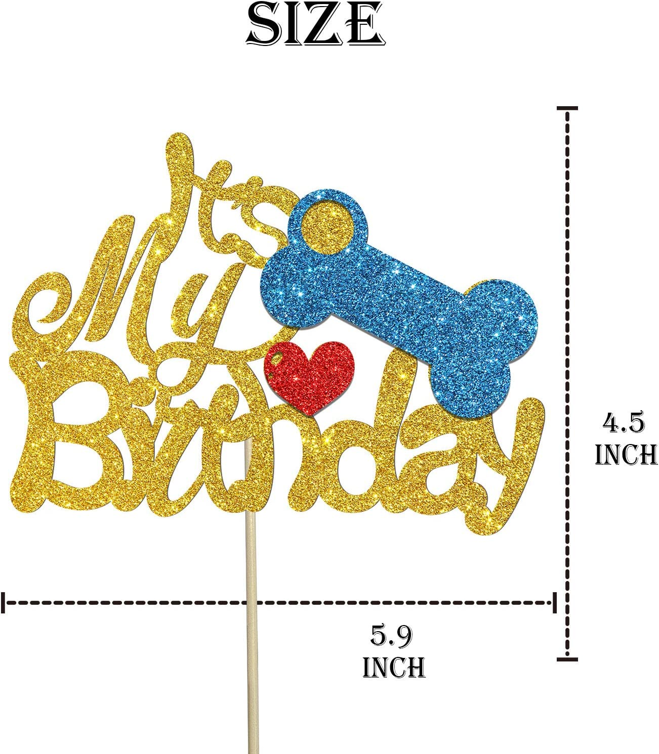 Its My Barkthday Cake Topper Golden Glitter Puppy First Birthday Cake Sign Cute Pet Dog Cat Birthday Party Decoration