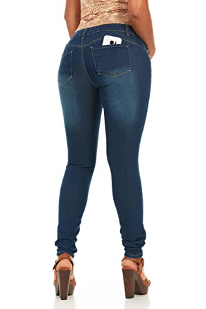 976b7d2e8df Cute Women s Juniors Plus Butt Lifting Stretchy Skinny Jeans Juniors Sizes  1 Classic Wash