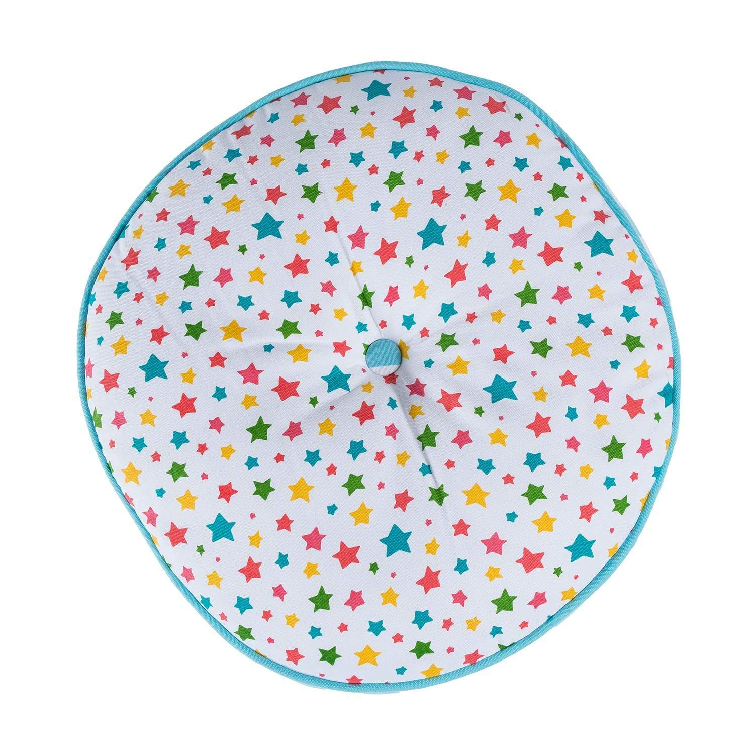 Homescapes Blue Round Floor Cushion Large Decorative Circular Children's & Garden Seat Pad with Polka Dot Pattern, Pre-Filled 100% Cotton Indoor and Outdoor Cushion, 43cm