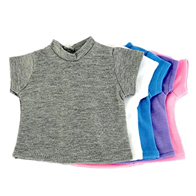 "T-Shirts Set 5 Different Light Colors | Fits 18"" American Girl Dolls, Madame Alexander, Our Generation, etc. 
