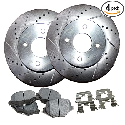 Amazon com: Detroit Axle - 4-Lug Drilled & Slotted Front