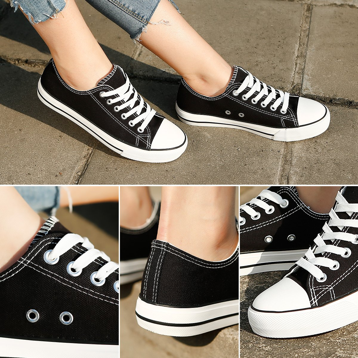 ZGR Canvas Sneaker Low Cut Season Lace Ups Shoes Casual Trainers for Women and Teenager Black US9 by ZGR (Image #4)