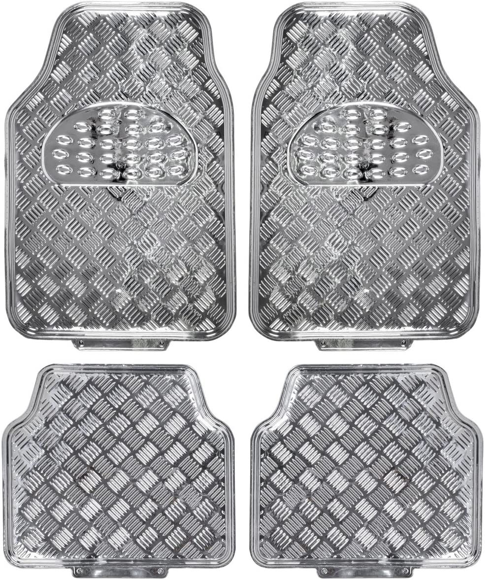 Gold Glitter Model Number: MT-2514-GD BDK Glitter Design Car Floor Mats Two Tone Color Carpet with PU Leather Trim Total Protection Durable Liners for Car Truck SUV /& Van All Weather