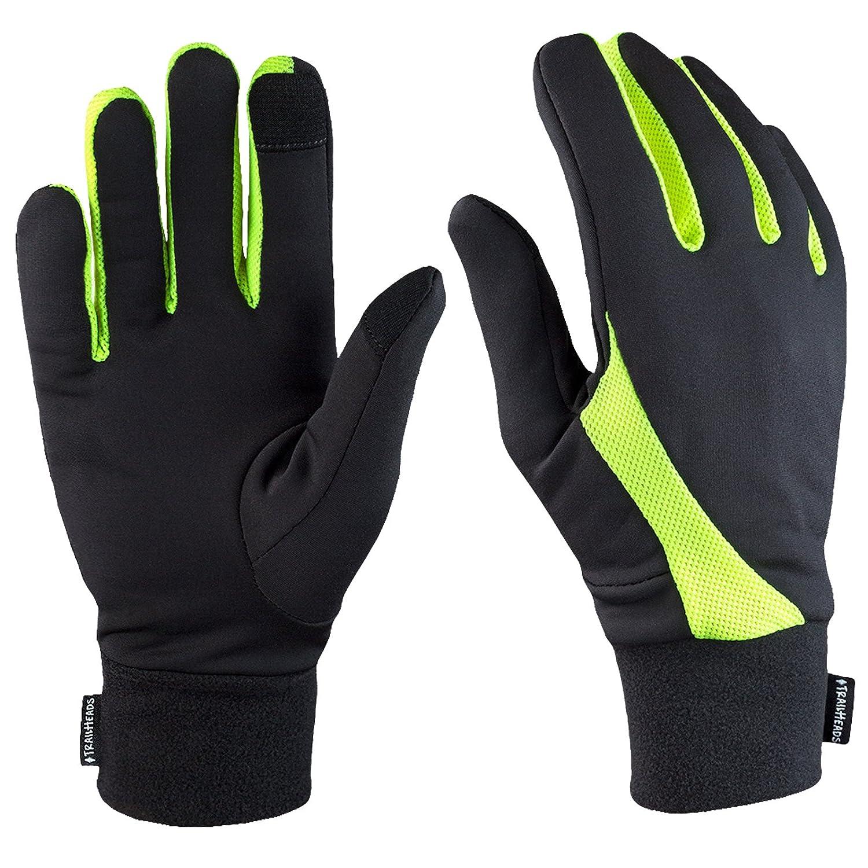 TrailHeads Elements| Lightweight Touchscreen Running Gloves - black/hi-vis