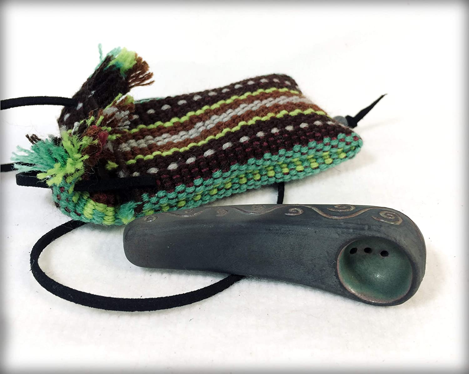 Handmade pipe with waves Forest ornamentic device cute hand Unique gift