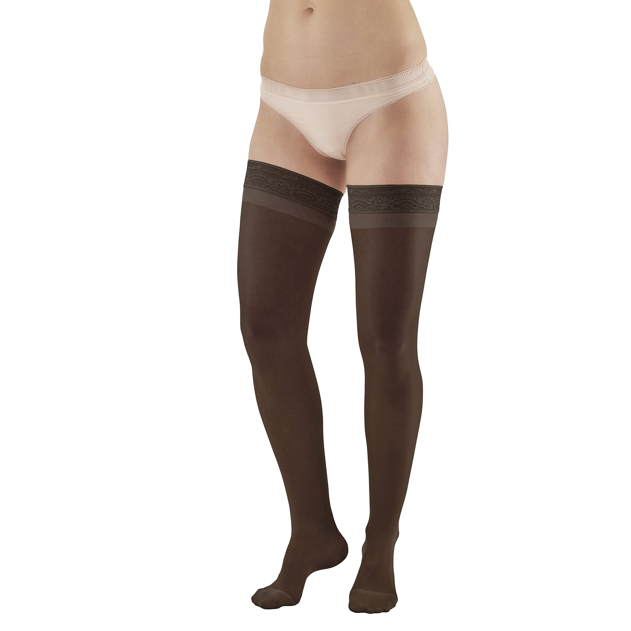 Ames Walker Women's AW Style 8 Sheer Support Closed Toe Compression Thigh High