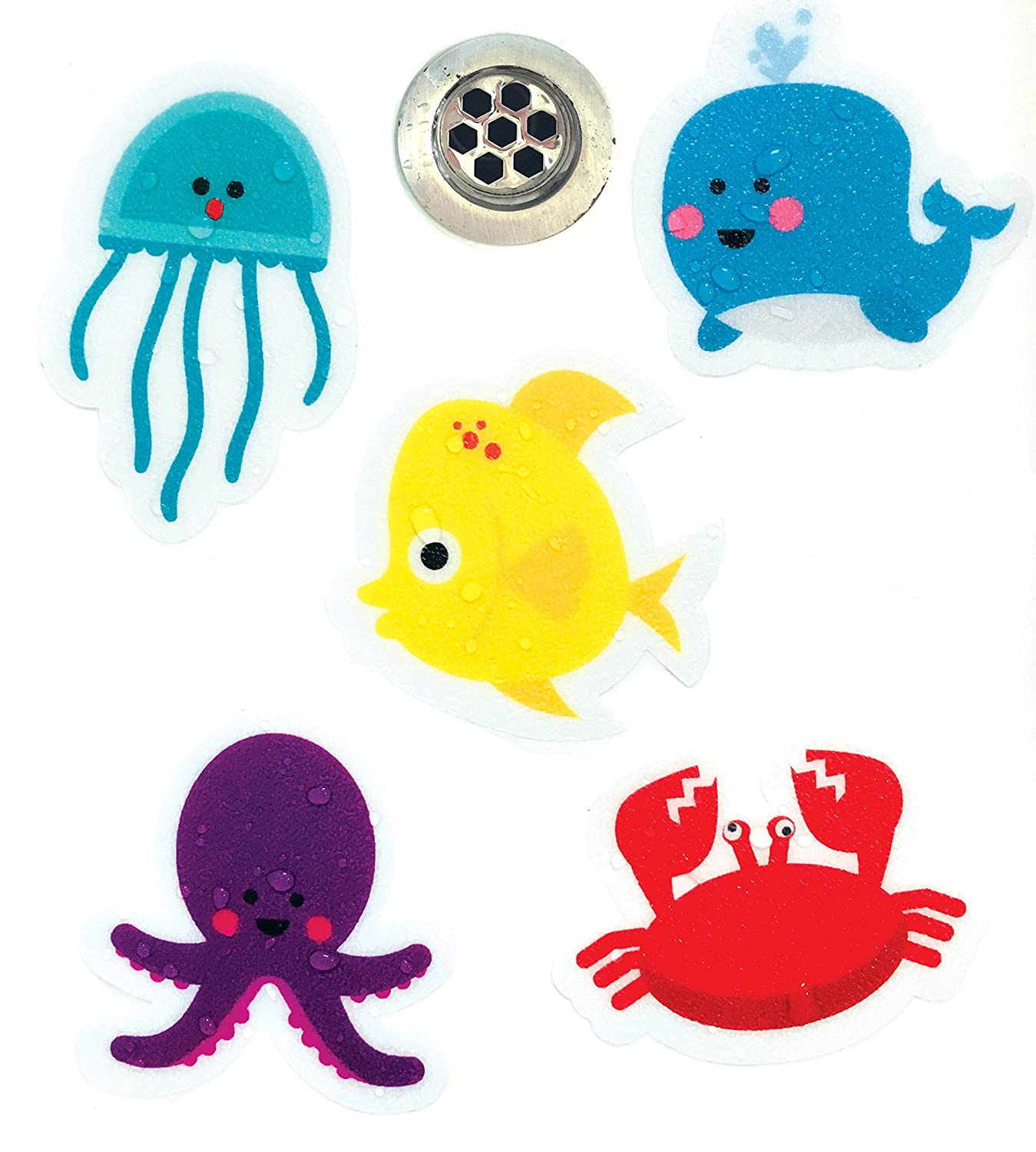 Curious Columbus Non-Slip Bathtub Stickers. Pack of 10 Large Sea Creature Decal Treads. Best Adhesive Safety Anti-Slip Appliques for Bath Tub and Shower Surfaces Little Red Shepherd