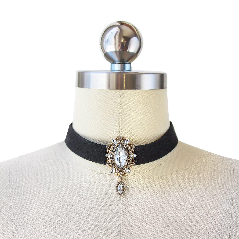AMY O Black Choker Necklace, Holiday Costume, Holiday Jewelry, Gold Choker