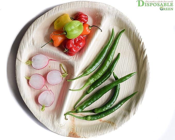 pratici ed eleganti Disposable Green 10 piatti usa e getta ecologici in foglia di palma da 27 cm di diametro con 3 scomparti