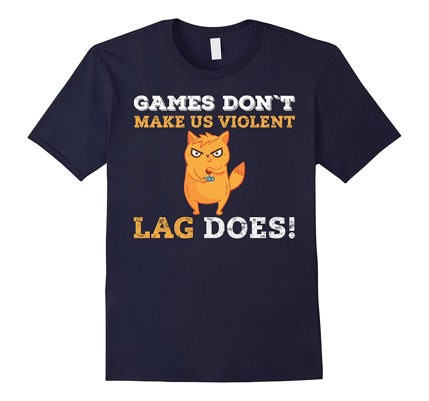 Violent Gamers Lag Games Funny Neon Cat Play Gaming T-Shirt-CL