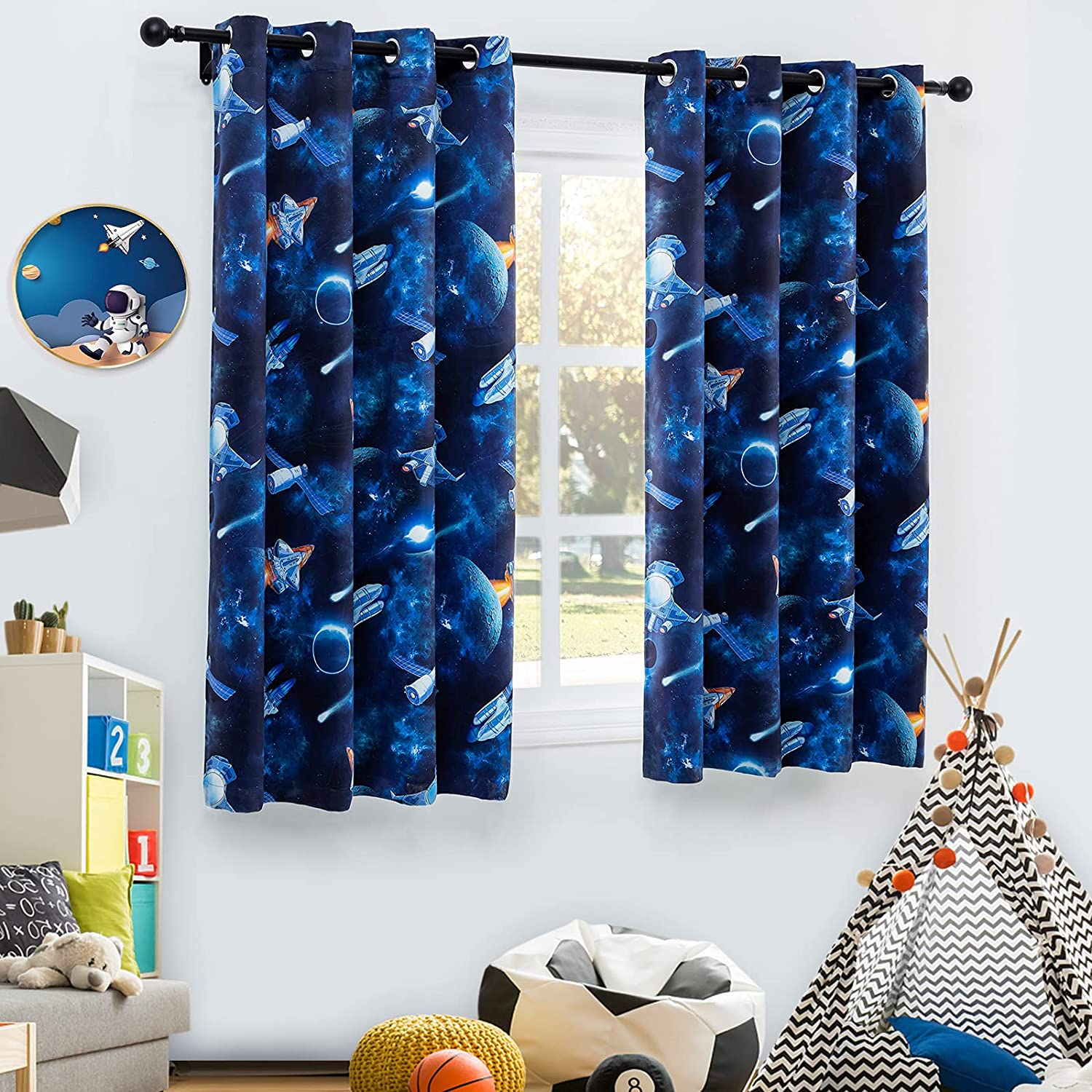 Drewin Blackout Kids Curtains Daily bargain sale for Length 84 Dallas Mall Outer Bedroom Inches