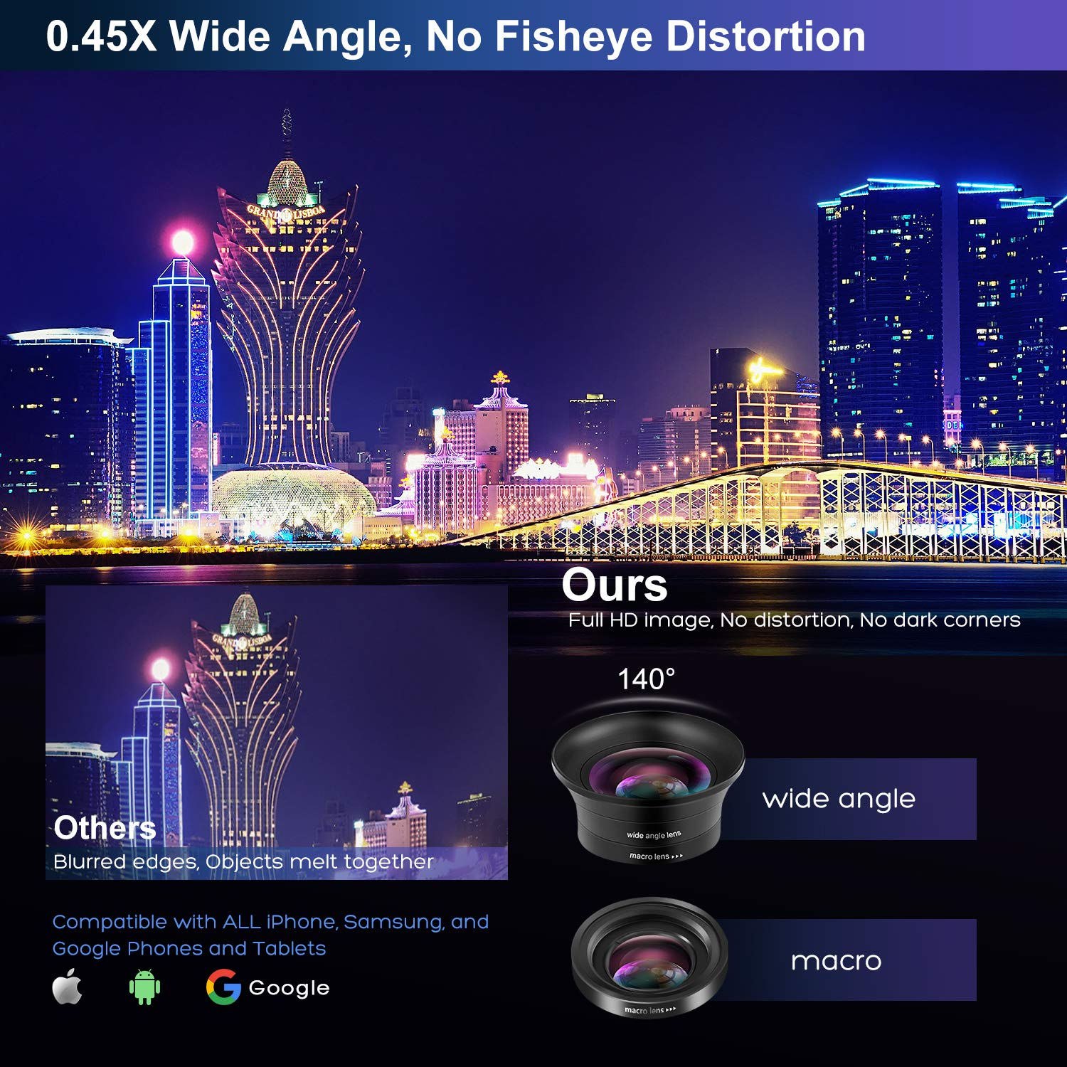 Cell Phone Camera Lens Kit – VIEWOW 4K HD 7 Optical Glasses 15X Macro 0.45X Wide Angle Phone Lens Kit with LED Light and Travel Case, Compatible with iPhone X/XS/8/7 Plus Samsung Pixel by VIEWOW (Image #5)