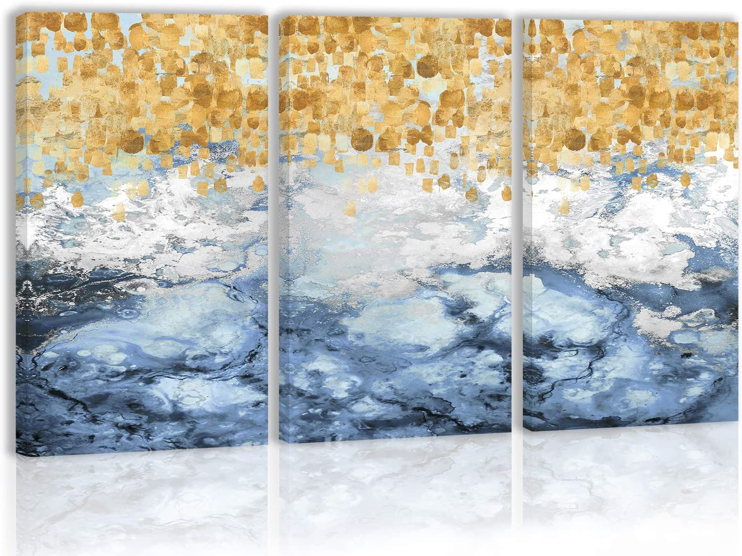 Gold Blue Modern Abstract Wall Art Decor Modern Artwork Canvas Painting Prints Pictures Home Decor for Living Room Dining Room Bedroom