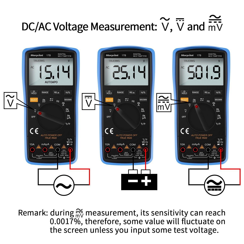 Morpilot Multimetro Digitale, True RMS 6000 Conta Multimetro Avanzato, Misura Tensione AC/DC, Corrente AC/DC, Resistenza, Continuità, Capacità, Frequenza, Diodi, Temperatura