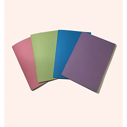 School Handwriting Exercise Books A5 - 24 Pages 4 Colours Assorted Cover - Learn to Write Literacy Notebook With Margin - Pack of 5 - By PARTY DECOR