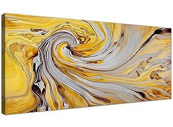 Accessoires De Décoration Murale En Toile Grise Et Jaune Moutarde Abstrait 1290 120 Cm De Large