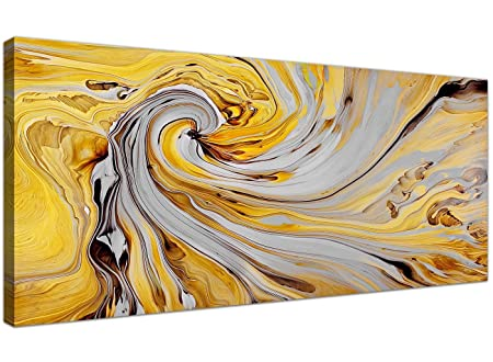 Mustard Yellow Grey Canvas Wall Art Accessories - Abstract 1290 ...