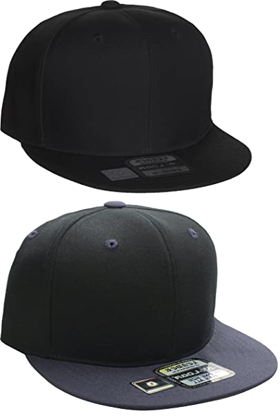 4b64371a8342b7 L.O.G.A Plain Flat Bill Visor Blank Snapback Hat Cap with Adjustable Snaps  - 2 Pk -