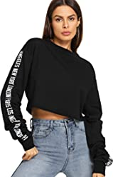 e91a5fdd42 SheIn Women's Letter Print Long Sleeve Crop Top Sweatshirts