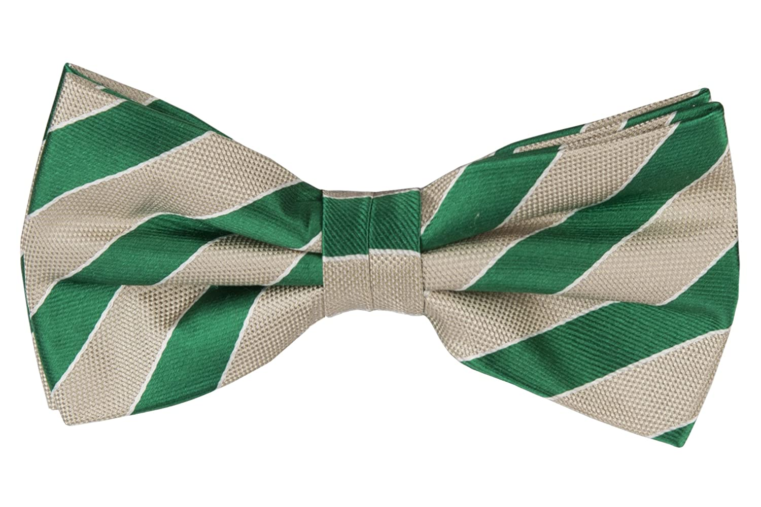 Pre tied bow tie - Green plain weave, ribbed stripes in two blues Notch