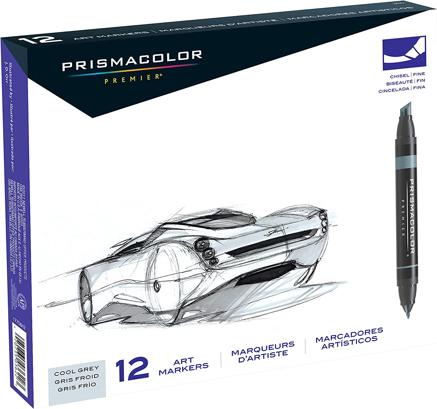 Prismacolor 3622 Premier Double-Ended Art Markers, Fine and Chisel Tip, Cool Grey, 12-Count