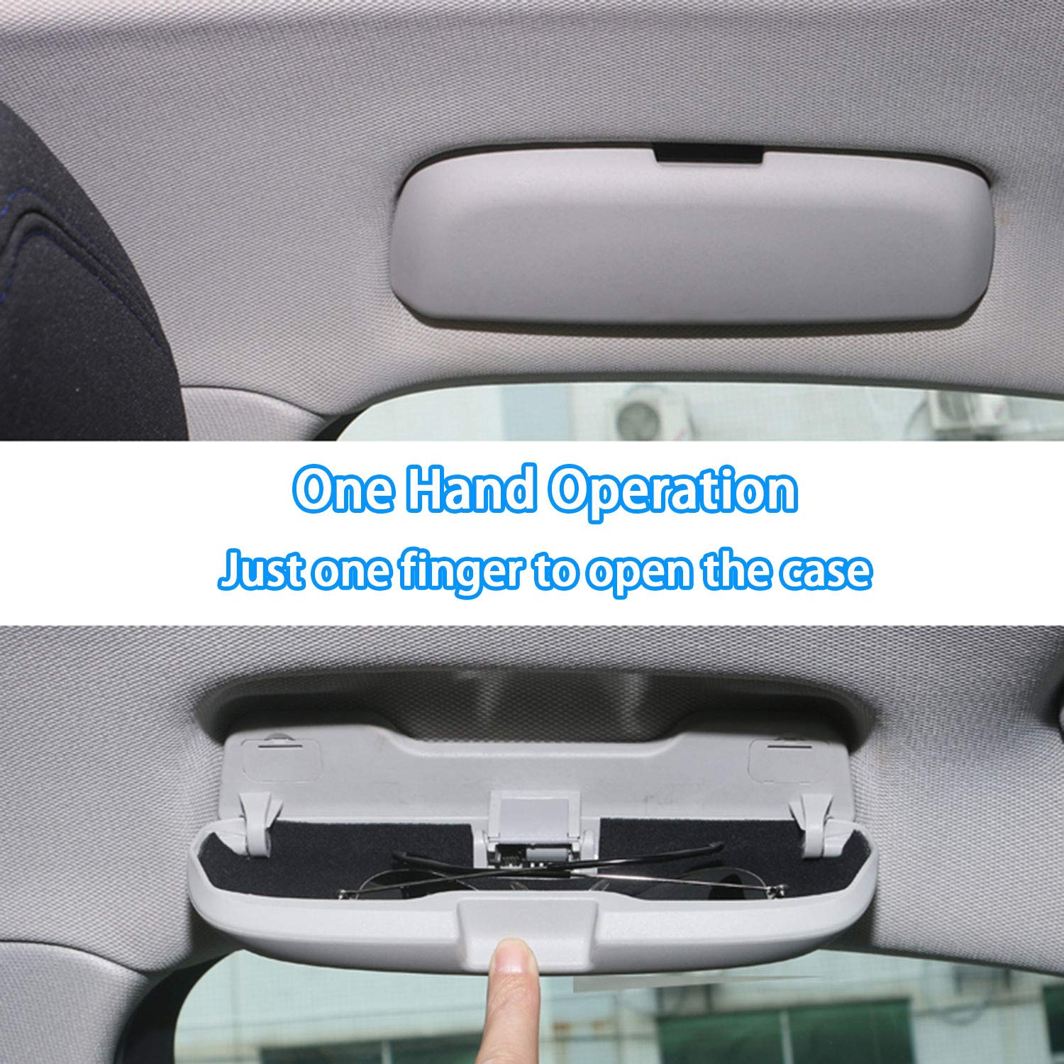 black Kwaks Glasses Box for Car Sunglasses Holder Compatible for Audi A1 A3 A4L A5 A6L S3 S5 S7 Q3 Q5 Q7 ABS Roof Assist Handle Glasses Eyewear Storage Case Anti-Scratches