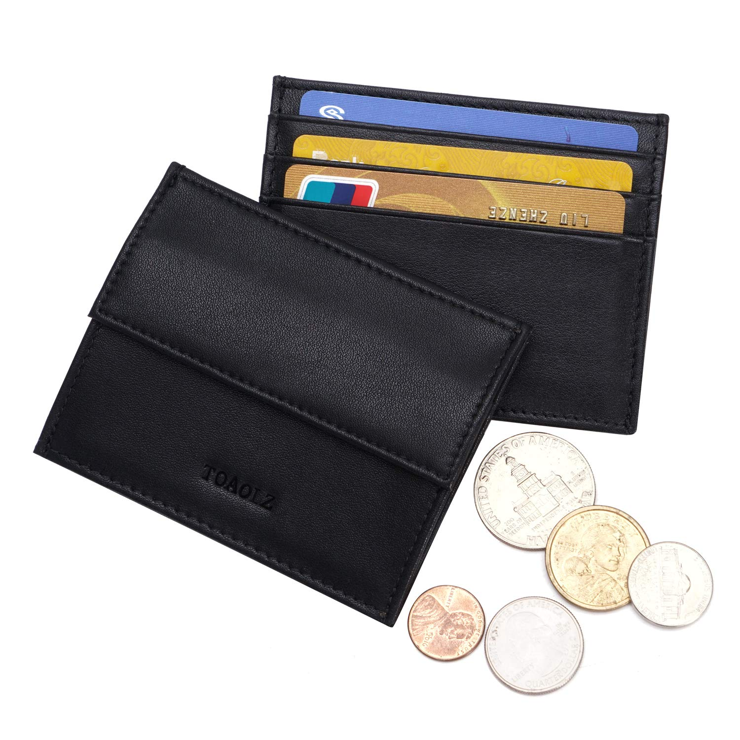 TOAOLZ Slim Card Case Leather Wallet for Men RFID Credit Card Holder with Thin Front Pocket Black Mini Card Wallet