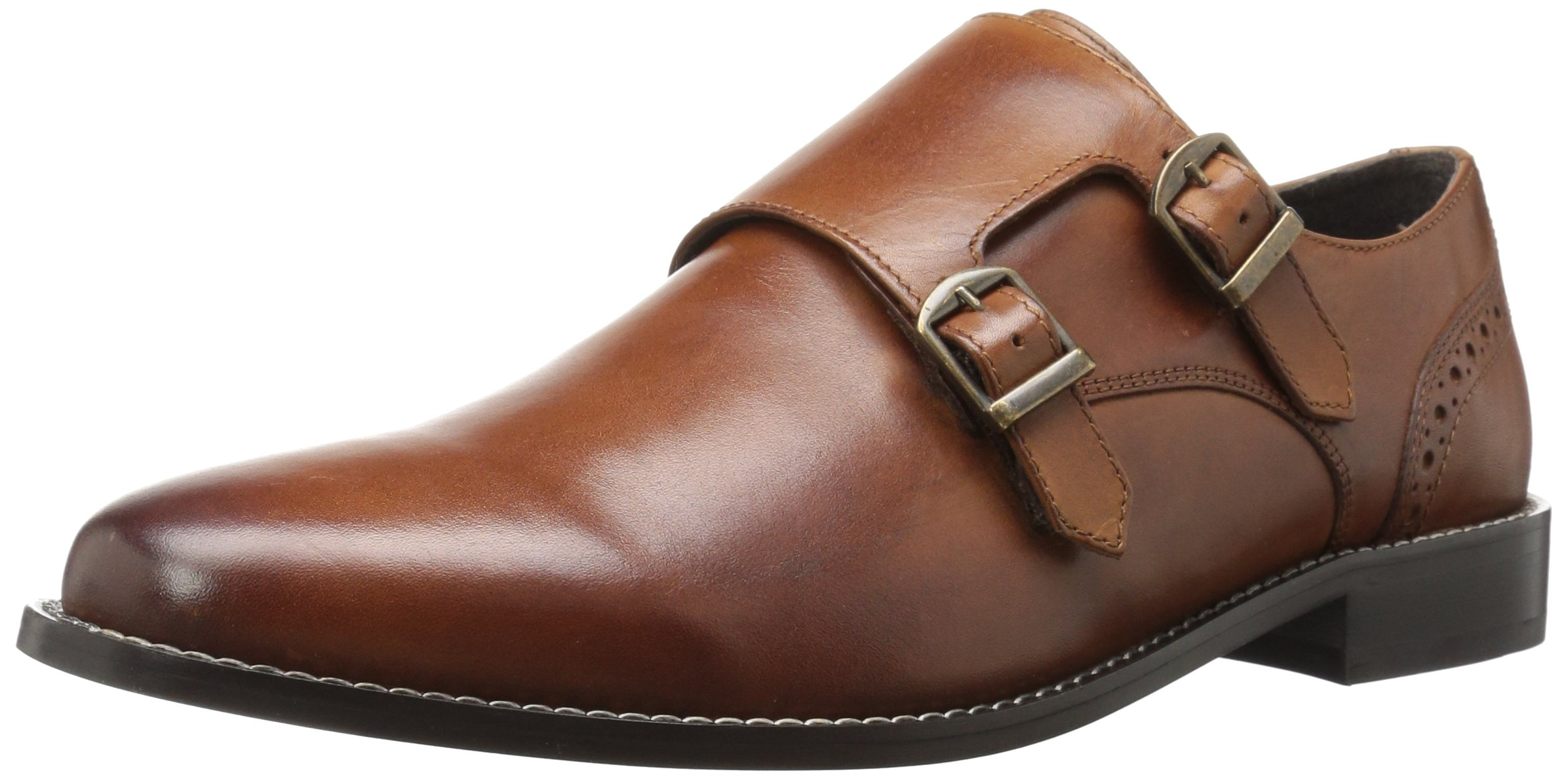 Nunn Bush Men's Norway Plain Toe Double Monk Strap Slip-on, Cognac, 9.5 W US