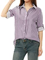Allegra K Women's Vertical Stripes Button Down Long Roll up Sleeves Shirt