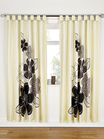 Candice Lined Tab Top Curtains - Black [Colour - black]: Amazon.co ...