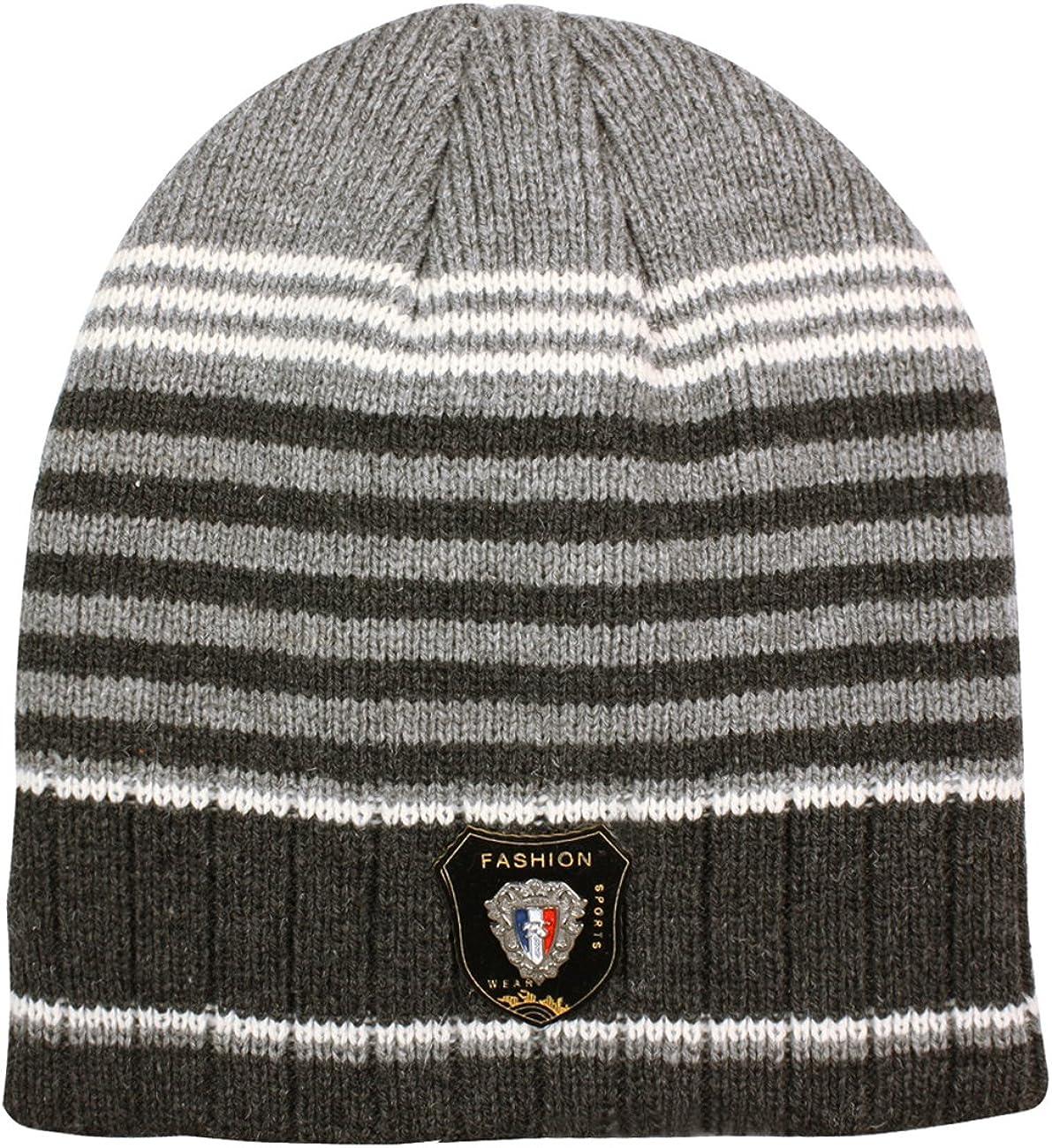 Dahlia Men's Skullies & Beanies - Wool, Knitted Winter Hat, Striped