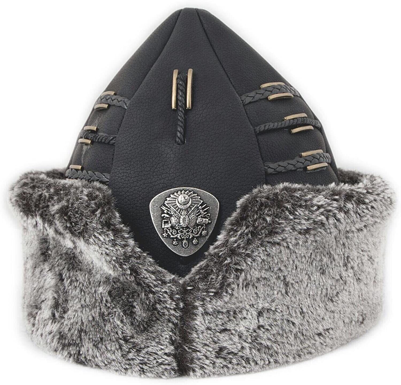 Yasir Turkish Ottoman Bork Hat Ertugrul Dirilis Fur Leather Ottoman Coat of Arms 1999