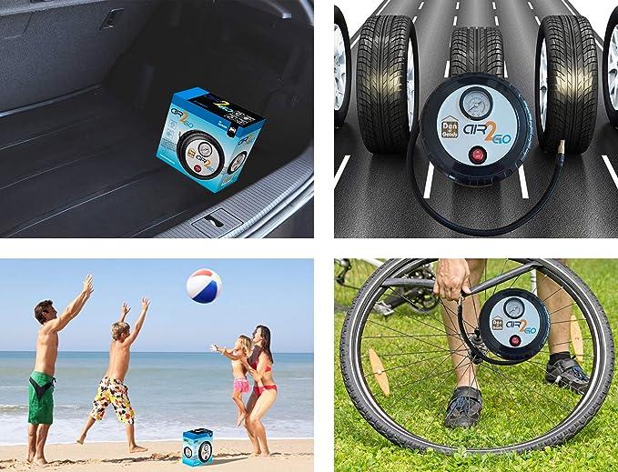 Inflador Bomba de Neumáticos - Para Bicicletas, Coches, Camiones y Moto Llantas - Eléctrica 12v DC Auto portátil Compresor de Aire Rápido y Fácil de ...