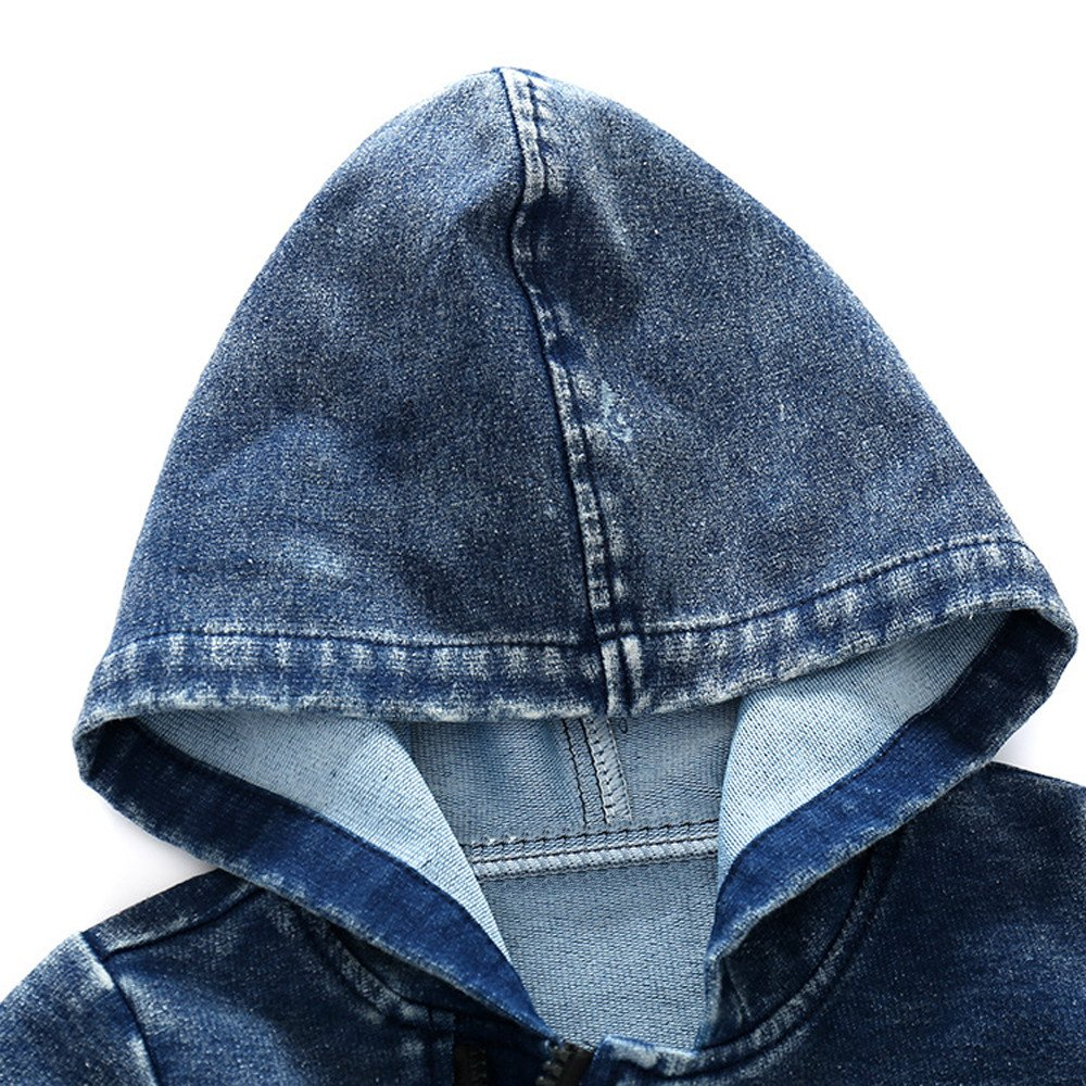 6 Mesi-3 Anni Pagliaccetti con Cappuccio E Cerniera Pigiama Maniche Lunghe Caldo Addensare Tutina Fumetto Outfits per Ragazze E Ragazzi Mbby Pagliaccetto Neonato in Denim