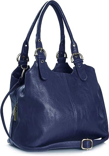Big Handbag Shop BHBS Sac à main pratique pour femme Multiple poches de rangement et longue bandoulière adjustable