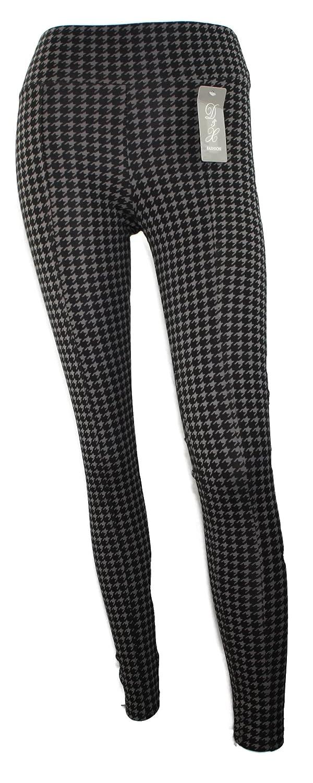 #1188 Damen Leggings Promi Look Hahnentritt Muster 34/S