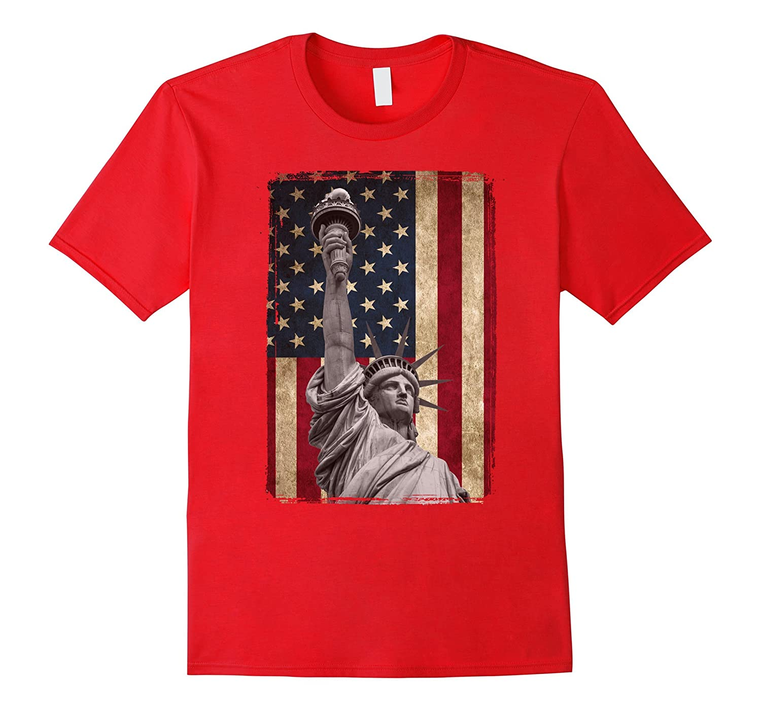 USA American Flag and Statue of Liberty Tee Shirt-Vaci