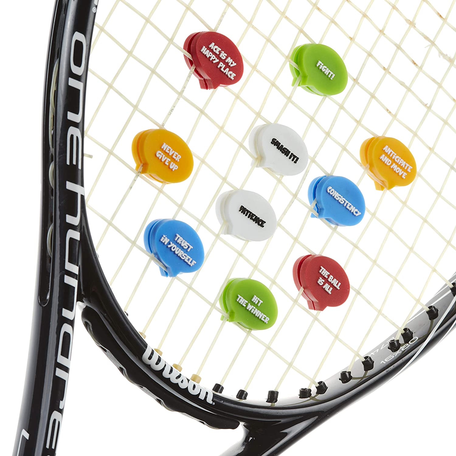 BusyBee Tennis Vibration Dampener (10 Pack). Unique Tennis Gift for Kids, Women and Players with 10 Motivational Slogans