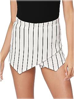 7f307b626f Romwe Women's Mid Waist Slim Fit Overlap Front Plaid Print Mini Skirt  Shorts Skort