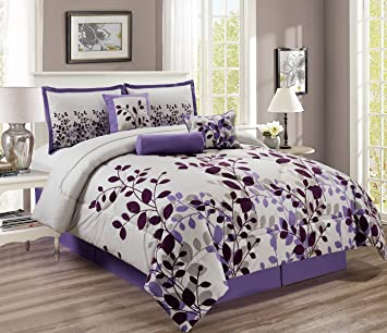 Amazon Com 7 Piece Purple Lavender Grey Comforter Set Vine Bed