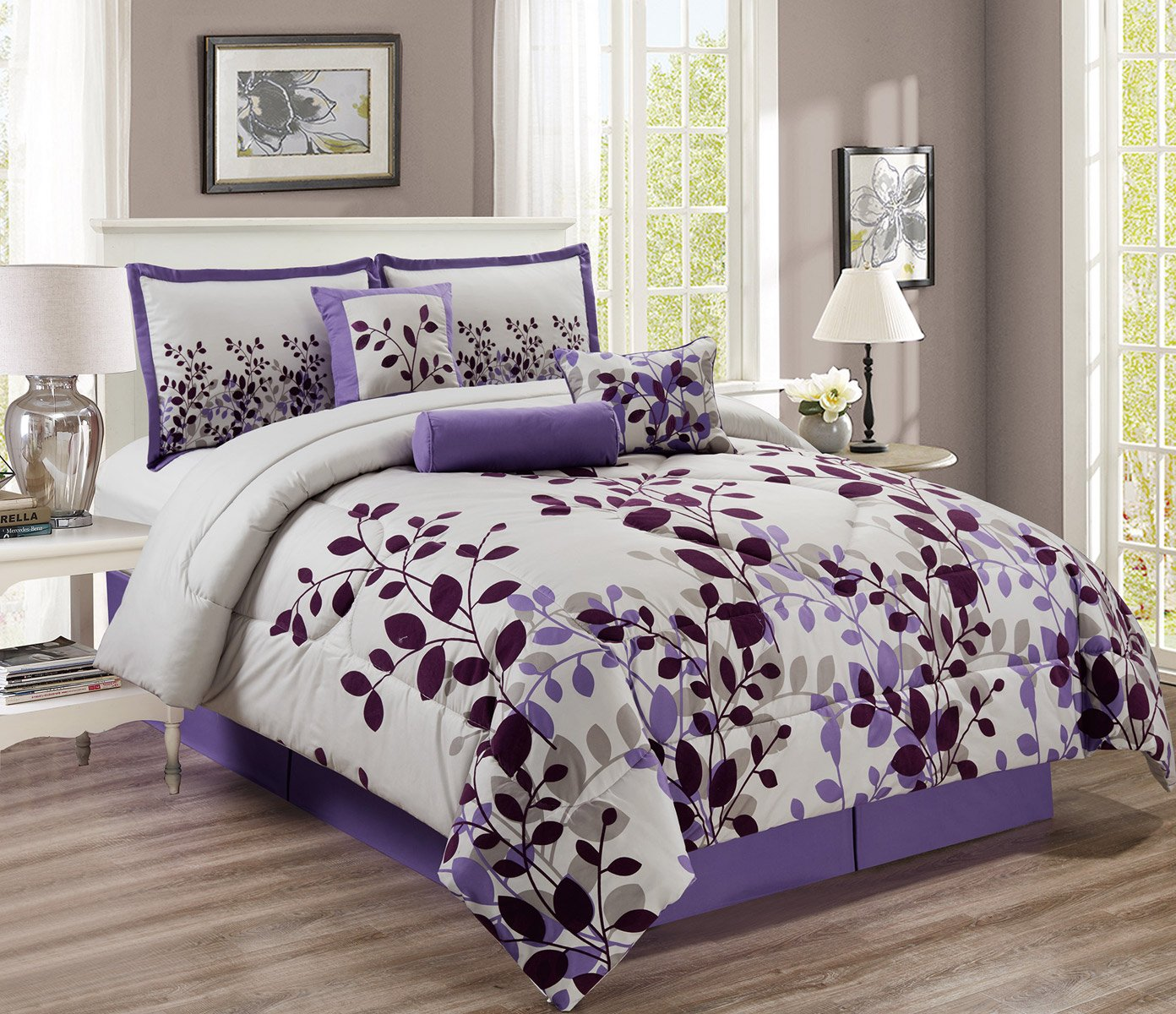 7 Piece Purple, Lavender, Grey Flocking Comforter Set Vine Bed In A Bag Queen Size Bedding