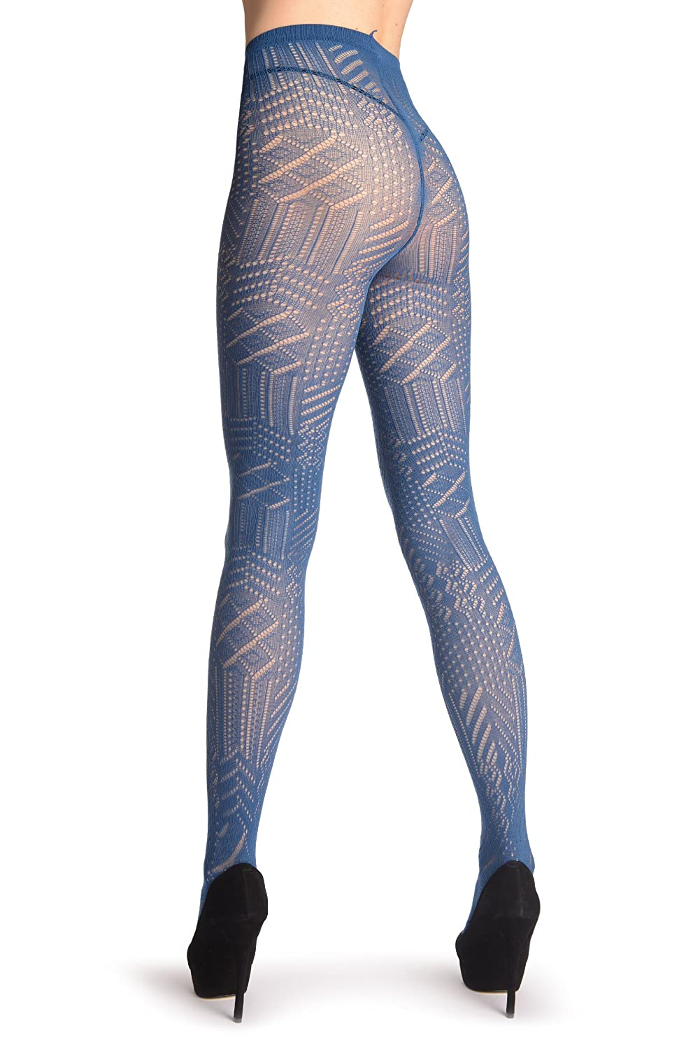 1d99fa3ef3a Navy Blue Geometrical Crochet Lace - Pantyhose (Tights) at Amazon Women s  Clothing store