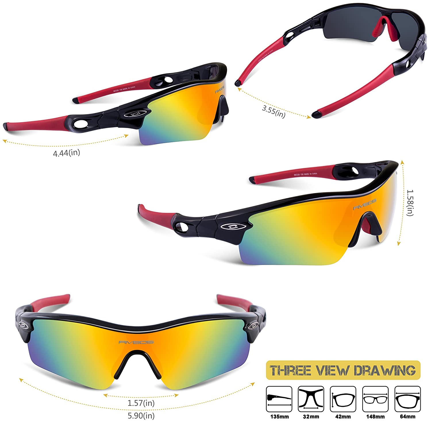 ee52e94acc46c Amazon.com   RIVBOS 805 TR 90 Frame Polarized Sports Sunglasses Sun Glasses  with 5 Set Interchangeable Lenses for Men Women Cycling Baseball   Sports    ...