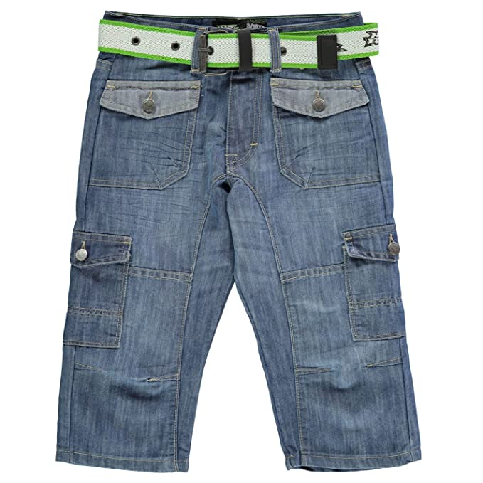 00965f947a No Fear Boys Belted Cargo Below The Knee Denim Shorts Light Wash UK 13  (XLB): Amazon.co.uk: Clothing